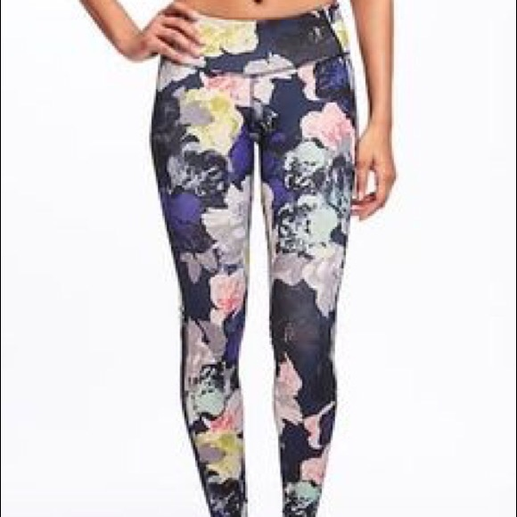 a8cd360ae2d229 Old Navy Pants | Womens Floral Midrise Elevate Active Crop Euc ...